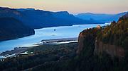 USA, Oregon, Columbia Gorge, Chanticleer Point, a Vista House at sunset