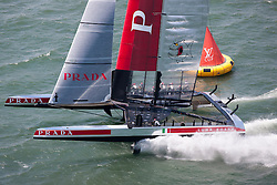 Luna Rossa wins the First race of the Louis Vuitton Cup semi finals.  6th of August, 2013, Alameda, USA