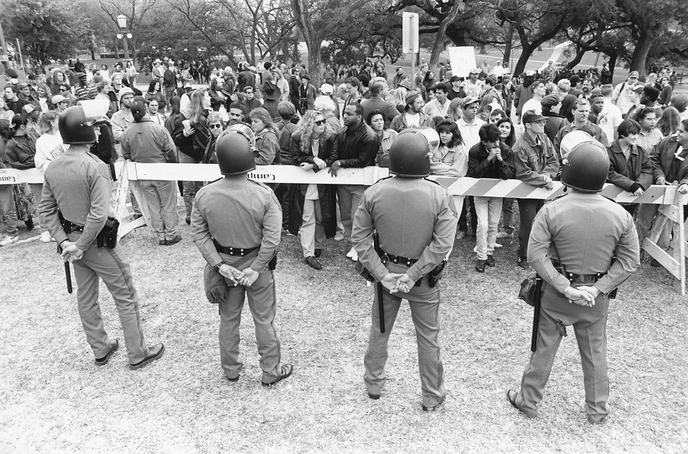 ©1990 Texas DPS State police protect the Texas Capitol from anti-KKK demonstrators