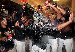 Travis Ishikawa celebrates after hitting walk-off home run to win Game 5 of NLCS, 2014 World Series Champion Giants