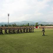 Burundian Army during a rehearse for Independence Day celebrations at Burundi's National Stadium in Bujumbura.