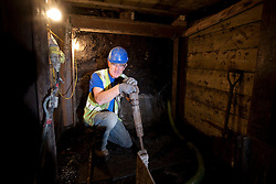 Olympic Park portrait. Portrait of Patrick Callagher, a miner, working on the primary foul drainage construction project. Picture taken on 22 Sep 09 by David Poultney.