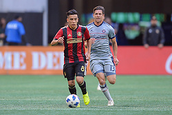 October 21, 2018 - Atlanta, GA, U.S. - ATLANTA, GA Ð OCTOBER 21:  Atlanta United's Ezequiel Barco (8) brings the ball up the field during the match between Atlanta United and the Chicago Fire on October 21st, 2018 at Mercedes-Benz Stadium in Atlanta, GA.  Atlanta United FC defeated the Chicago Fire by a score of 2 to 1.  (Photo by Rich von Biberstein/Icon Sportswire) (Credit Image: © Rich Von Biberstein/Icon SMI via ZUMA Press)