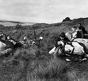 Last call 5th U.S. Cavalry, Puerto Rico. Four U.S. soldiers behind horses lying on ground. One of the soldiers is blowing a bugle and holding a pistol, and the other three are holding rifles.c1900.
