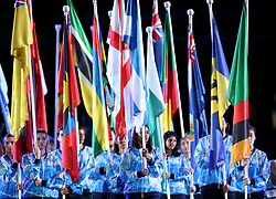 Flags of competing nations during the Opening Ceremony for the 2018 Commonwealth Games at the Carrara Stadium in the Gold Coast, Australia.