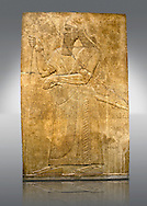 Assyrian relief sculpture panel  of King Ashurnaspiral II with his sword and a staff. The panel is possibly from his private apartments..  From Nimrud, Iraq,  865-860 B.C North West Palace. Room S, panel 3.  British Museum Assyrian  Archaeological exhibit no WA 124563. .<br /> <br /> If you prefer to buy from our ALAMY PHOTO LIBRARY  Collection visit : https://www.alamy.com/portfolio/paul-williams-funkystock/ancient-assyria-antiquities.html  Refine search by adding background colour, place, subject, museum etc into the LOWER SEARCH WITHIN GALLERY box to <br /> <br /> Visit our ANCIENT ASSYRIAN PHOTO COLLECTIONS for more photos to download or buy as wall art prints https://funkystock.photoshelter.com/gallery-collection/Ancient-Assyrian-Art-Artefacts-Antiquities-Historic-Sites-Pictures-Images-of/C0000cjRqQyJjLag