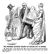 """The Proposed National Gallery of British Art in Danger. Mr Henry Tate. """"No. thank you, Mr Red Tape, I don't want my gifts to the nation to be tied up by you, then packed away, and never seen again!"""""""