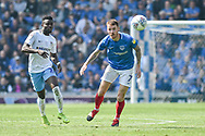 Portsmouth Midfielder, Tom Naylor (7) is first to the ball during the EFL Sky Bet League 1 match between Portsmouth and Coventry City at Fratton Park, Portsmouth, England on 22 April 2019.