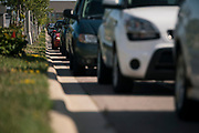 Hundreds of cars line up near Prairie Winds Middle School in Mankato, Minnesota, U.S., for a pop up grocery supply delivery on Thursday, July 23, 2020. Photographer: Ben Brewer/Bloomberg