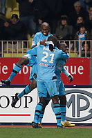 FOOTBALL - FRENCH CHAMPIONSHIP 2009/2010 - L1 - AS MONACO v OLYMPIQUE MARSEILLE - 13/02/2010 - PHOTO PHILIPPE LAURENSON / DPPI - JOY MAMADOU NIANG (OM)<br /> AFTER HIS GOAL