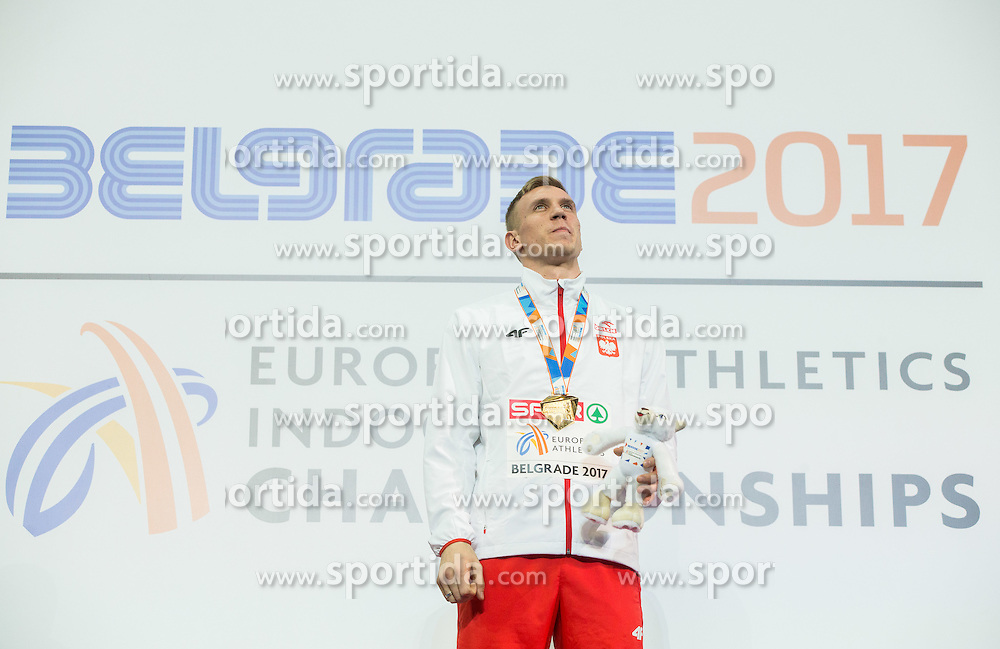 Winner Piotr Lisek of Poland celebrates during victory ceremony after competing in the Pole Vault Men Final on day two of the 2017 European Athletics Indoor Championships at the Kombank Arena on March 4, 2017 in Belgrade, Serbia. Photo by Vid Ponikvar / Sportida