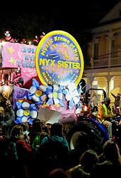 03 February 2016. New Orleans, Louisiana.<br /> Mardi Gras. The all female Mystic Krewe of Nyx parades along Magazine Street with brightly decorated floats, marching bands and dance troupes.<br /> Photo©; Charlie Varley/varleypix.com