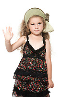 caucasian little girl high five salute isolated studio on white background