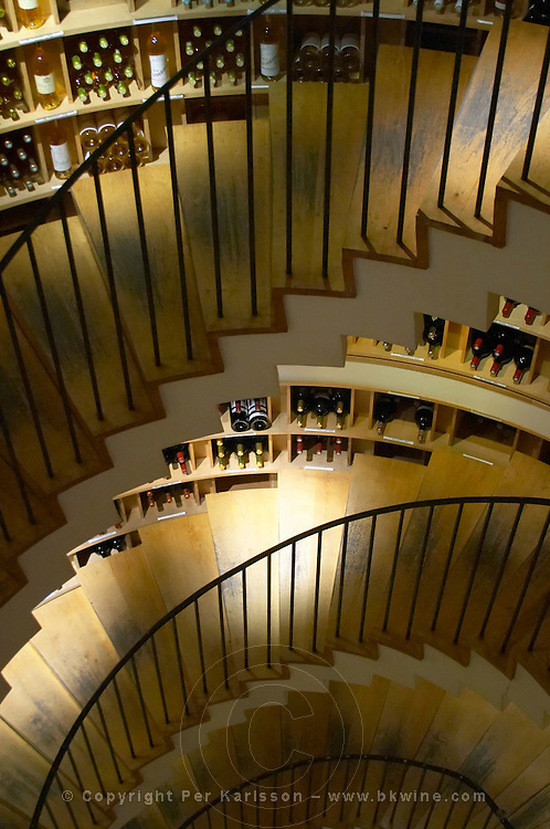 Wine shop. L'Intendant. Interior with winding stair case. Bordeaux city, Aquitaine, Gironde, France