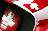 GEPA-1106086010 - BASEL,SCHWEIZ,11.JUN.08 - FUSSBALL - UEFA Europameisterschaft, EURO 2008, Schweiz vs Tuerkei, SUI vs TUR, Vorberichte. Bild zeigt einen Fan der Schweiz.<br />Foto: GEPA pictures/ Philipp Schalber