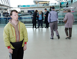 Small Metal Objects<br /> by Back to Back Theatre<br /> at Stratford Station, London, Great Britain<br /> press photocall<br /> 31st October 2007<br /> <br /> Sonia Teuben (as Gary) and Simon Laherty (as Steve)<br /> Jim Russell (as Alan)<br /> <br /> Photograph by Elliott Franks