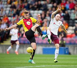 Partick Thistle's Liam Lindsay and Hearts Conor Sammon. half time - Partick Thistle 0 v 1 Hearts, Ladbrokes Premiership match played 27/89/2016 at Firhill.