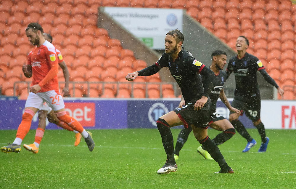 Lincoln City's Jorge Grant celebrates scoring his side's second goal<br /> <br /> Photographer Chris Vaughan/CameraSport<br /> <br /> The EFL Sky Bet League One - Blackpool v Lincoln City - Saturday 3rd October 2020 - Bloomfield Road - Blackpool<br /> <br /> World Copyright © 2020 CameraSport. All rights reserved. 43 Linden Ave. Countesthorpe. Leicester. England. LE8 5PG - Tel: +44 (0) 116 277 4147 - admin@camerasport.com - www.camerasport.com