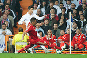 Champions League semi final second leg soccer match between Real Madrid and FC Bayern Munich at the Santiago Bernabeu stadium in Spain - <br /> MADRID 25/04/2012<br /> ESTADIO SANTIAGO BERNABEU.<br /> half final, Halbfinale, Semifinale,  CHAMPIONS LEAGUE<br /> REAL MADRID 2 - BAYERN 1<br /> picture: CRISTIANO RONALDO. BOATENG.- fee liable image, copyright © ATP QUEEN INTERNACIONAL<br /> <br /> Real MADRID vs Fc BAYERN Match 2:1 und 3:1 im Elfmeterschieflen - and 3:1 in penalty shooting - Queen photographer Fernando ALVAREZ