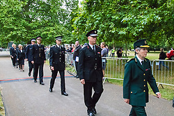 Hyde Park, London, July7th 2015. The Mayor of London Boris Johnson and other senior political figures, the Commissioners for transport and policing in the capital, as well as senior representatives of the emergency services  lay wreaths at the 7/7 memorial in Hyde Park.