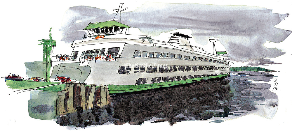 It's all in a day's work for chief mate Scott Freiboth as he navigates a jumbo ferry carrying hundreds of commuters on the Seattle-to-Bainbridge route. <br /> <br /> Gabriel Campanario / The Seattle Times