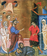 Jesus raising Lazarus after four days. Martha and Mary, sisters of Lazarus kneel at Jesus' feet as Lazarus is led from tomb in his shroud.  After Armenian gospel (c.1269). Painter and calligrapher Toros Rosline.