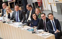 21.03.2018, Hofburg, Wien, AUT, Parlament, Sitzung des Nationalrates mit Budgetrede des Finanzministers für das Doppelbudget 2018 und 2019, im Bild v.l.n.r. Staatssekretär im Finanzministerium Hubert Fuchs (FPÖ), Bundesministerin für Wissenschaft, Forschung und Wirtschaft Margarete Schramböck (ÖVP), Verteidigungsminister Mario Kunasek (FPÖ), Bildungsminister Heinz Faßmann (ÖVP), Außenministerin Karin Kneissl (FPÖ), Bundesministerin für Land- und Forstwirtschaft, Umwelt und Wasserwirtschaft Elisabeth Köstinger (ÖVP), Vizekanzler Heinz-Christian Strache (FPÖ) und Bundeskanzler Sebastian Kurz (ÖVP) // f.l.t.r. Austrian State Secretary of the Finance Ministry Hubert Fuchs, Austrian Minister for Science, Research and Economy Margarete Schramboeck, Austrian Minister for Defence Mario Kunasek, Austrian Federal Minister for Education Heinz Fassmann, Austrian Minister for Europe, Integration and Foreign Affairs Karin Kneissl, Austrian Minister for Agriculture, Forestry, Environment and Water Management Elisabeth Koestinger, Austrian Vice Chancellor Heinz-Christian Strache and Austrian Federal Chancellor Sebastian Kurz during meeting of the National Council of austria with the presentation of the Austrian government budget for 2018 and 2019 at Hofburg palace in Vienna, Austria on 2018/03/21, EXPA Pictures © 2018, PhotoCredit: EXPA/ Michael Gruber