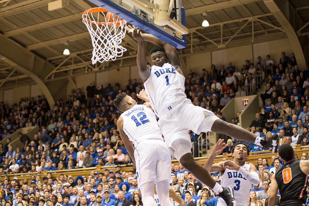 Zion Williamson hits his head on the backboard after a block during the Duke Blue Devil's home game against the Princeton Tigers on December 18, 2018.