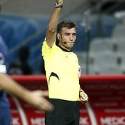 Referee's Ozgur Yankaya during their Turkish Superleague soccer match IBBSK between Besiktas at the Ataturk Olympic stadium in Istanbul Turkey on Sunday 19 August 2012. Photo by TURKPIX