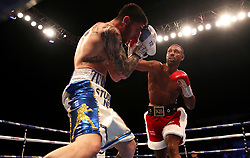 Michael Zerafa (left) and Kell Brook in action during the Final Eliminator WBA Super-Welterweight Championship at the FlyDSA Arena, Sheffield.
