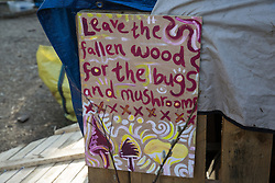 A sign is pictured at Poors Piece Protection Camp on 26th April 2021 in Steeple Claydon, United Kingdom. Poors Piece Protection Camp, set up in spring 2020 at the invitation of the land's owner Clive Higgins, is one of several protest camps set up by environmental activists in opposition to the HS2 infrastructure project along its Phase 1 route between London and Birmingham.