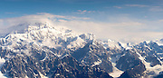 Aerial view of Denali (Mt. McKinley), the Tokositna Glacier (lower right) and the Alaska Range on a sightseeing flight from Talkeetna, Alaska.