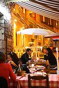 RESTAURANTS, Cote d'Azur. France. L'Escalinada, Vieux Nice, Cote d'Azure, France. Terrasse at night,