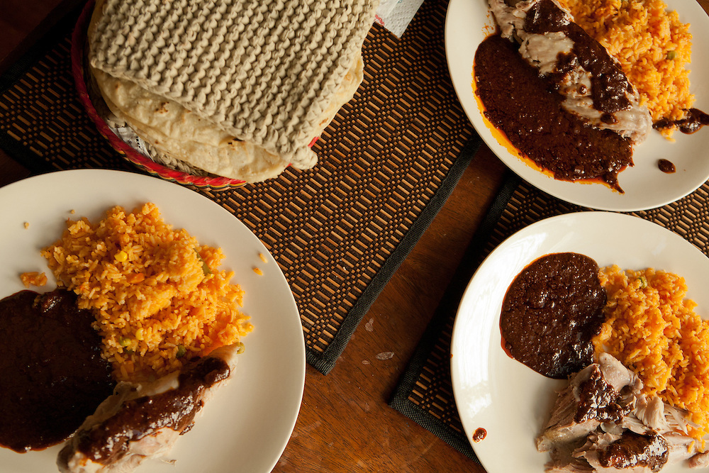Turkey mole and rice, with hot corn tortillas.