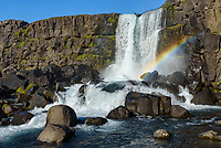 Öxarárfoss is a small waterfall in Þingvellir National Park (pronounced Thingvellir). Morning is the perfect time to look for rainbows in the mist if it's sunny.