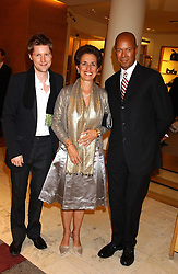"""Left to right, CHRISTOPHER BAILEY, ROSE MARIE BRAVO and MICHAEL ROBERTS  at a party hosted by Christopher Bailey to celebrate the launch of """"The Snippy World of New Yorker Fashion Artist Michael Roberts"""" held at Burberry, 21-23 New Bond Street, London on 20th September 2005.<br /><br />NON EXCLUSIVE - WORLD RIGHTS"""