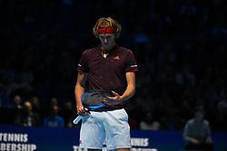 November 12, 2017 - London, England, United Kingdom - Alexander Zverev of Germany plays against Marin Cilic of Croatia during the Nitto ATP World Tour Finals at O2 Arena, London on November 12, 2017. (Credit Image: © Alberto Pezzali/NurPhoto via ZUMA Press)
