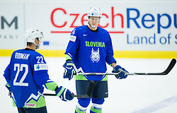 Marcel Rodman of Slovenia and Miha Stebih of Slovenia during Ice Hockey match between Russia and Slovenia at Day 3 in Group B of 2015 IIHF World Championship, on May 3, 2015 in CEZ Arena, Ostrava, Czech Republic. Photo by Vid Ponikvar / Sportida