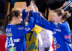 Cleopatra Darleux and Amanda Leynaud of Metz  at handball match of Round 5 of Champions League between RK Krim Mercator and Metz Handball, France, on January 9, 2010 in Kodeljevo, Ljubljana, Slovenia. (Photo by Vid Ponikvar / Sportida)