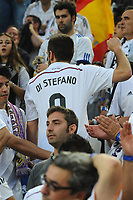 A fan of Real Madrid CF dresses a Di Stefano's jersey during the UEFA Champions League semi-final first leg football match between Juventus and Real Madrid on May 5, 2015 at the Juventus stadium in Turin, Italy. Photo Massimo Cebrelli / DPPI