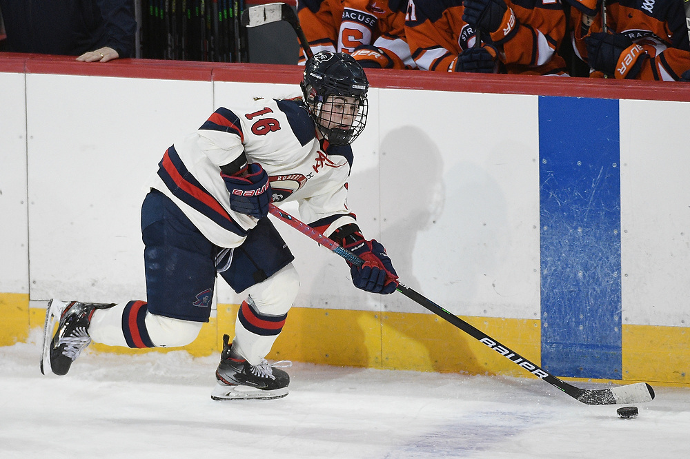 ERIE, PA - MARCH 06: Michaela Boyle #16 of the Robert Morris Colonials skates with the puck in the second period during the CHA Tournament Championship game against the Syracuse Orange at the Erie Insurance Arena on March 6, 2021 in Erie, Pennsylvania. (Photo by Justin Berl/Robert Morris Athletics)