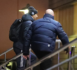Zlatan Ibrahimovic and the Manchester United team are seen arriving at The Lowry Hotel in Manchester