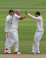 Chris Rushworth  (Durham County Cricket Club) celebrates with team mates after taking the wicket of Chris Woakes (Warwickshire County Cricket Club) during the LV County Championship Div 1 match between Durham County Cricket Club and Warwickshire County Cricket Club at the Emirates Durham ICG Ground, Chester-le-Street, United Kingdom on 15 July 2015. Photo by George Ledger.