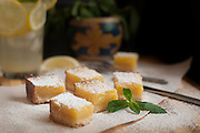 Lemon Bars dusted with Powdered Sugar and Lemonade by Rodney Bedsole, a food photographer based in Nashville. My most popular image.