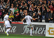 Michu celebrates his goal for Swansea City with fans.<br /> UEFA Europa league match, Swansea city v FC Kuban Krasnodar at the Liberty Stadium in Swansea, South Wales on Thursday 24th October 2013. pic by Phil Rees, Andrew Orchard sports photography,