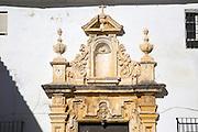 Stonework detail cathedral church bell tower, Jerez de la Frontera, Cadiz province, Spain