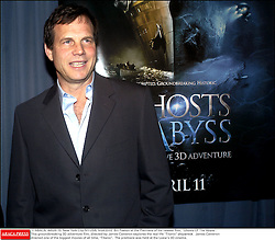 © ABACA. 44526-15. New York City-NY-USA, 9/04/2003. Bill Paxton at the Premiere of his newest film, Ghosts Of The Abyss.This groundbreaking 3D adventure film, directed by James Cameron explores the real life Titanic shipwreck. James Cameron directed one of the biggest movies of all time, Titanic. The premiere was held at the Loew's 3D cinema.