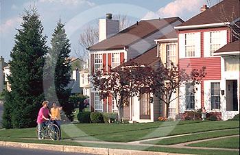 Harrisburg, PA, Suburban Development, Neighbors, Sidewalk, Street Scape, Homes