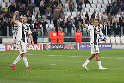 October 2, 2018 - Turin, Piedmont, Italy - Leonardo Bonucci (Juventus FC) and Paulo Dybala (Juventus FC)  celebrate the victory after the Juventus FC UEFA Champions League match between Juventus FC and Berner Sport Club Young Boys at Allianz Stadium on October 02, 2018 in Turin, Italy..Juventus won 3-0 over Young Boys. (Credit Image: © Massimiliano Ferraro/NurPhoto/ZUMA Press)