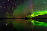 """The northern lights, or aurora borealis, shine over and are reflect in Lake Mývatn  in northern Iceland. The lake, formed during a lava eruption 2,300 years ago, contains numerous lava pillars and rootless vents, called pseudocraters. Mývatn is Icelandic for """"midge lake,"""" and denotes the tremendous number of midge flies found in the area. The aurora borealis, frequently visible during the winter months in Iceland, is caused by charged particles from the sun crashing into the Earth's atmosphere."""